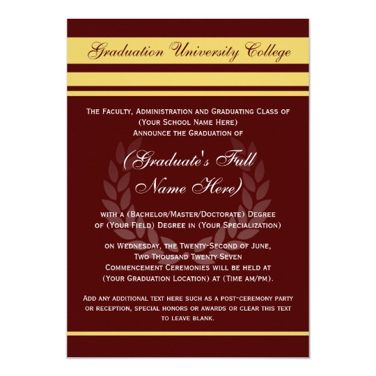Formal College Graduation Announcements Maroon Zazzlecom