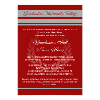 Formal College Graduation Announcements Red