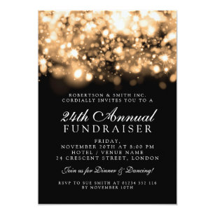 Formal event invitations announcements zazzle formal corporate gala event gold sparkling lights card stopboris Gallery