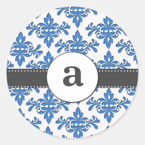 Formal Damask Monogram Classic Round Sticker