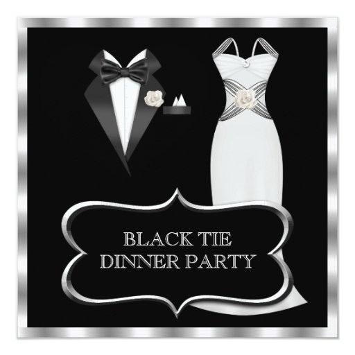 Formal Dinner Party White Black Tie Invitation