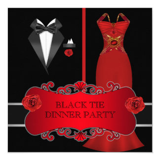 Formal Dinner Party White Black Tie Red 2C Card