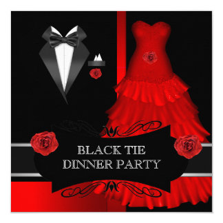 Formal Dinner Party White Black Tie Red Card