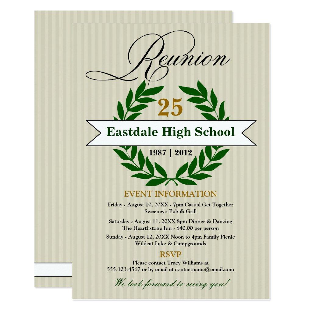 Formal Elegant High School Reunion Invitation