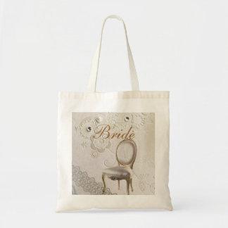 Formal elegant lace paris vintage bride tote bag