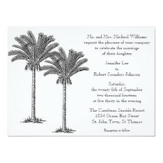 Formal Elegant Palm Tree Tropical Island Wedding Announcements