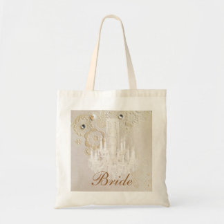 Formal elegant swirls chandelier vintage bride budget tote bag