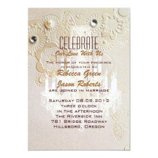 Formal elegant swirls chandelier vintage wedding card