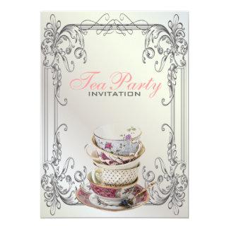 Formal elegant swirls  White vintage tea party 5x7 Paper Invitation Card