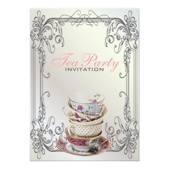White Vintage Tea Party Invitation