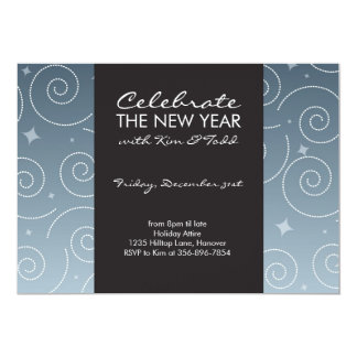 Formal Fancy Swirly Invitations in Blue