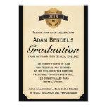 """Formal Faux Parchment Graduation Announcements 5"""" X 7"""" Invitation Card"""