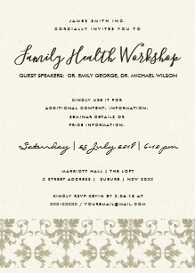 Formal event invitations announcements zazzle formal faux silver damask classic workshop event invitation stopboris Images