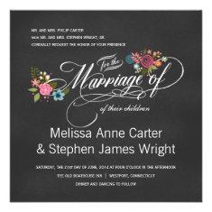 Formal Floral Chalkboard Wedding Invitations