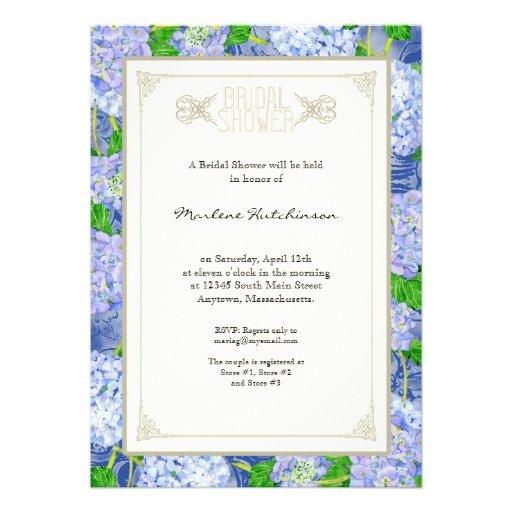 Formal floral de la ducha del cordón azul nupcial  comunicados personalizados