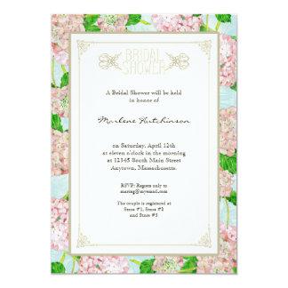 """Formal floral de la ducha del rosa del cordón invitación 5"""" x 7"""""""