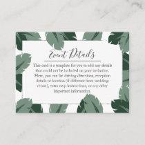 Formal Floral Tropical Green Leaf Details Card