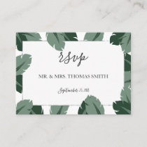 Formal Floral Tropical Green Leaf RSVP Card