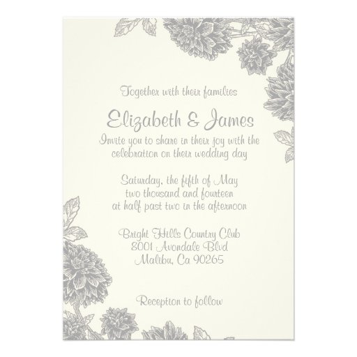 Formal Flower Wedding Invitations 5 X 7 Invitation Card