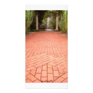Formal Garden Path to Water Fountain Photo Card
