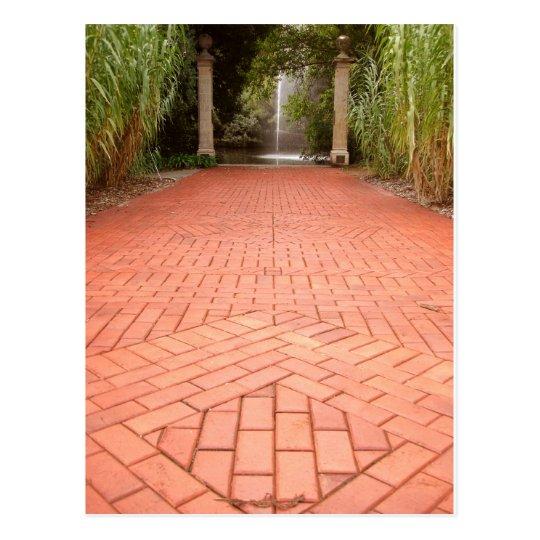 Formal Garden Path to Water Fountain Postcard