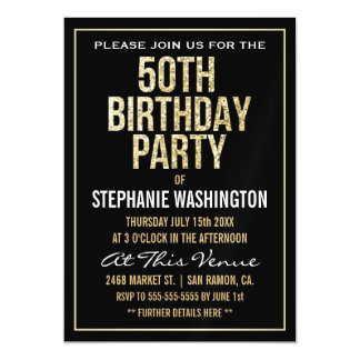 Formal Gold and Black 50th Birthday Party Magnetic Card