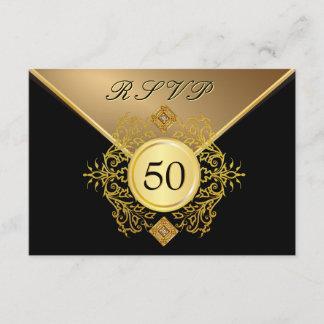Formal Gold Black 50th Birthday Anniversary RSVP