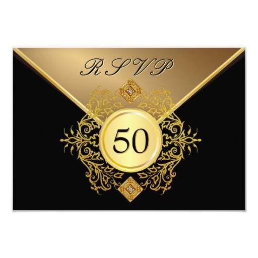 Formal Gold Black 50th Birthday Anniversary RSVP 3.5x5 Paper Invitation Card