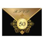 Formal Gold Black 50th Birthday Anniversary RSVP Card