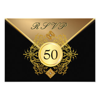 Formal Gold Black 50th Birthday Anniversary RSVP Announcement