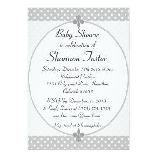 Formal Gray Polka Dots Baby Shower Invitation