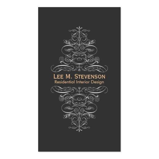 Formal Interior Designer Ornate Swirl Motif Black Business Card Templates