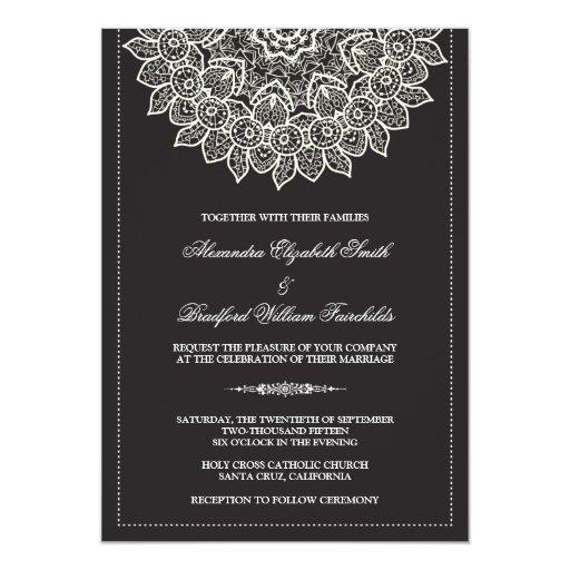 Formal Lace Doily Wedding Invitation (black)