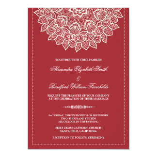 Formal Lace Doily Wedding Invitation (red)