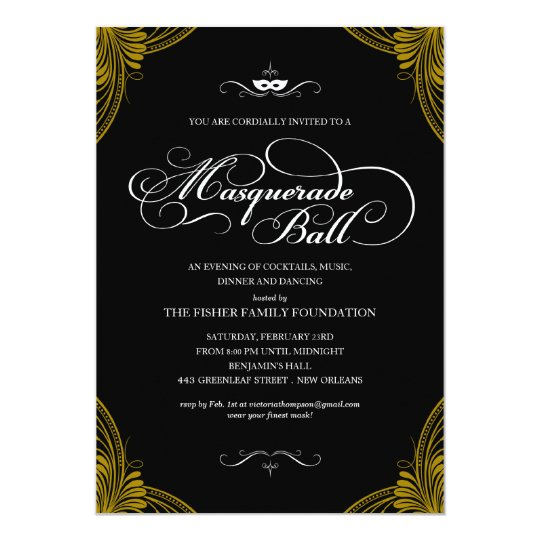 Formal Masquerade Ball Invitations Zazzle Com