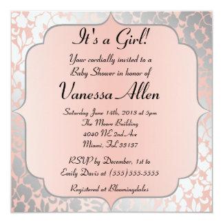 Formal Metallic Peach Floral Baby Shower Card