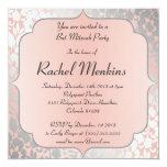 Formal Metallic Peach Floral Bat Mitzvah Card