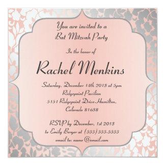 Formal Metallic Peach Floral Bat Mitzvah 5.25x5.25 Square Paper Invitation Card