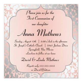 Formal Metallic Peach Floral First Communion Card