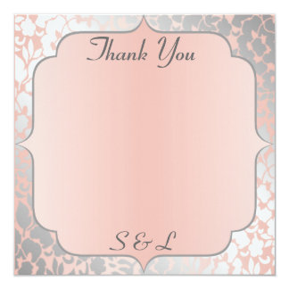 Formal Metallic Peach Floral Thank You Card / Note