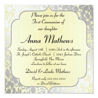Formal Metallic Yellow First Communion Invitation