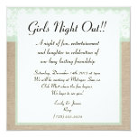 "Formal Mint Burlap Lace Girls Night Out Invitation 5.25"" Square Invitation Card"