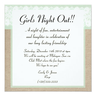 Formal Mint Burlap Lace Girls Night Out Invitation