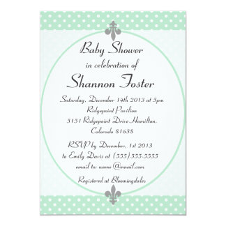 Formal Mint Polka Dots Baby Shower Invitation
