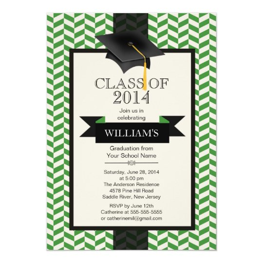 Formal Modern Chevron Graduation Party Invitation
