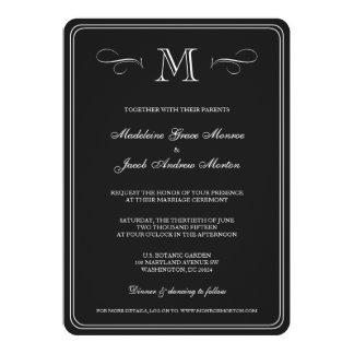 Formal Monogram | Black & White Wedding 5x7 Paper Invitation Card