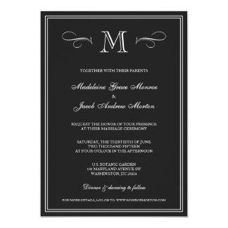 Formal Monogram | Black & White Wedding Card