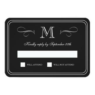 Formal Monogram | Black & White Wedding RSVP 3.5x5 Paper Invitation Card