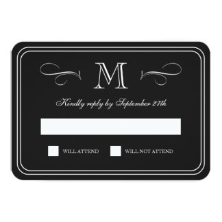 Formal Monogram | Black & White Wedding RSVP Card