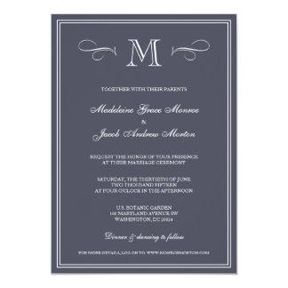 Formal Monogram | Blue Wedding 5x7 Paper Invitation Card